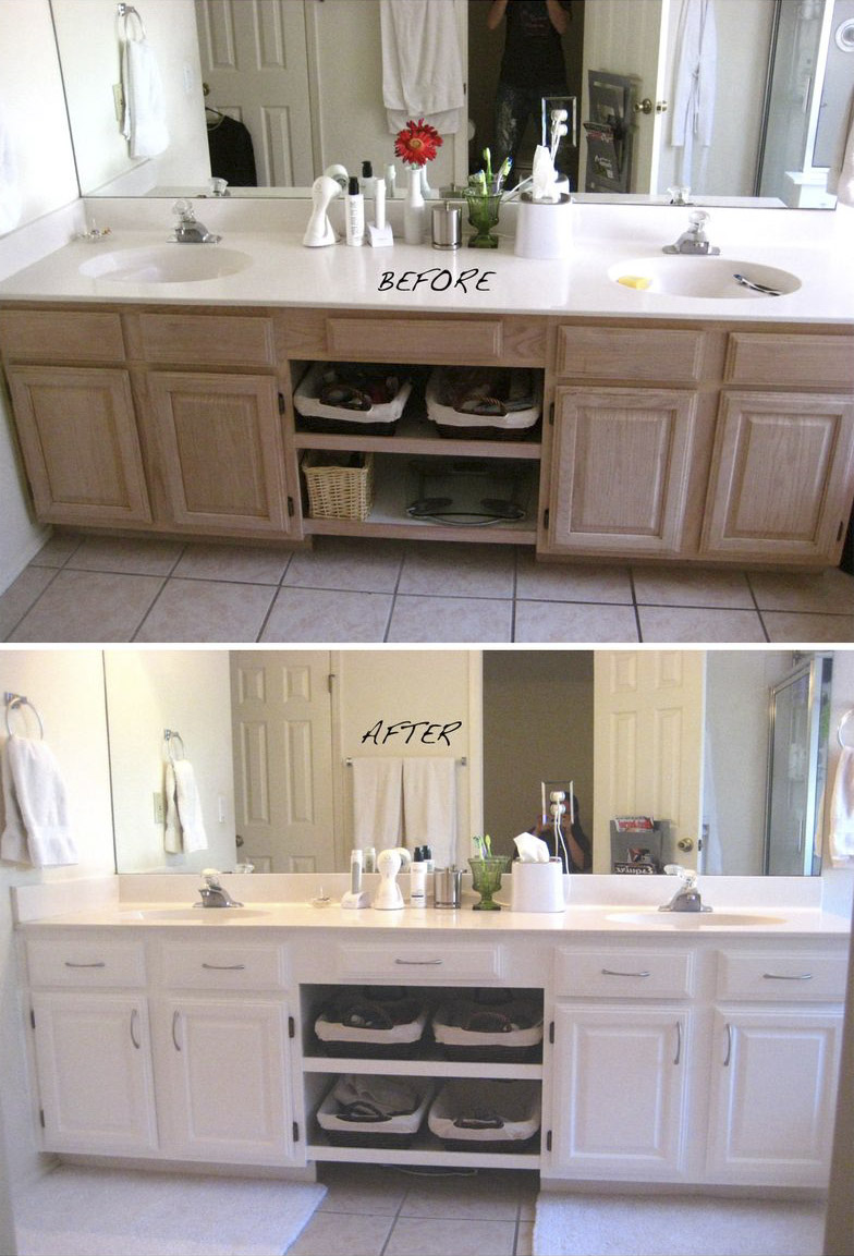 Transformar un tocador de ba o con la pintura do it for Repainting white kitchen cabinets